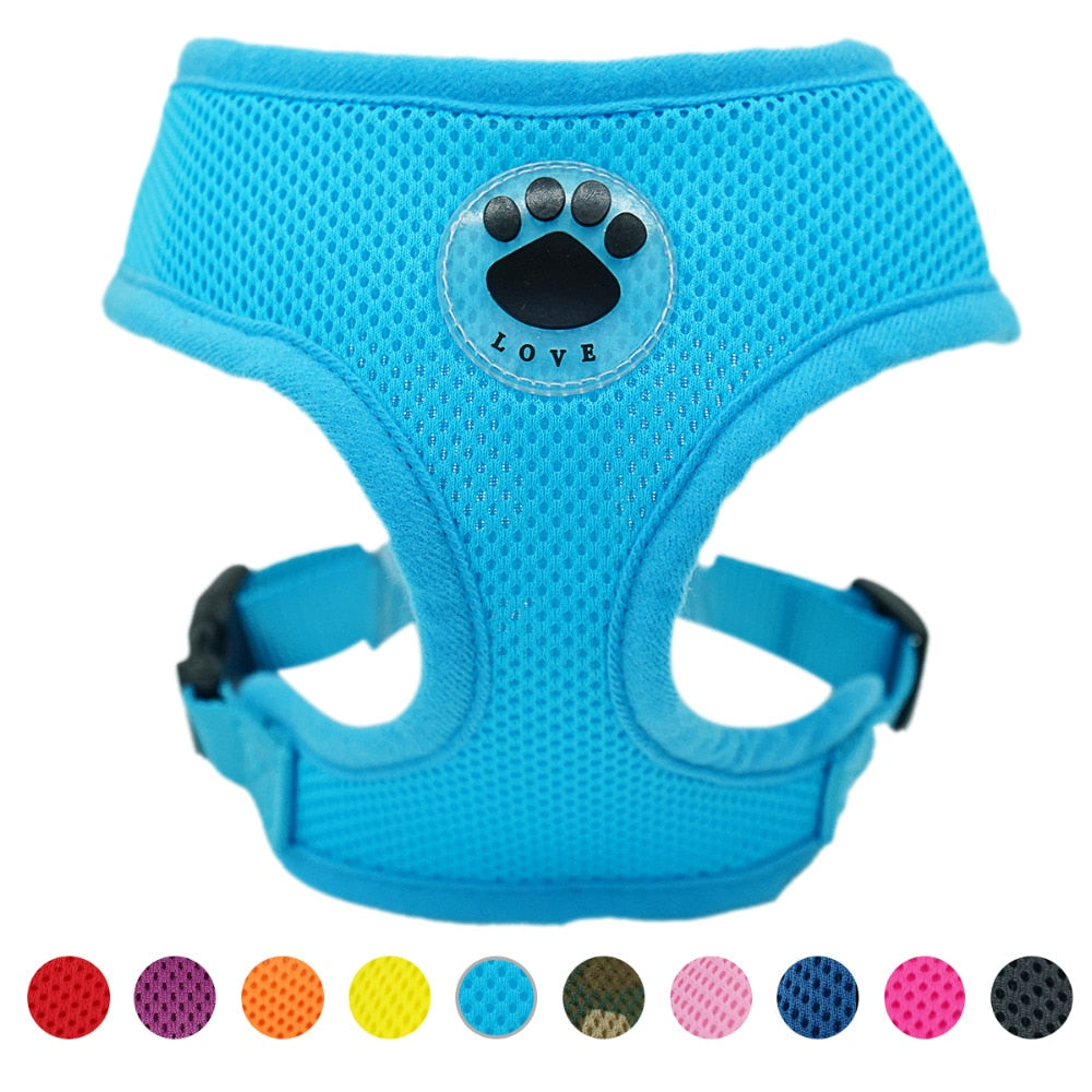 Rubber  Adjustable  Breathable Pets Nylon Mesh Vest harness - ourfurryfriendshub