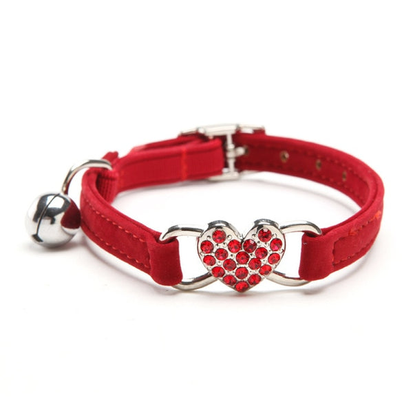Heart Charm and Bell Cat Collar Safety Elastic Adjustable with Soft Velvet Material 5 colors pet Product small dog collar - ourfurryfriendshub