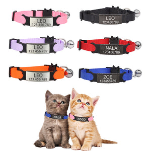 ID Free Engraving Cat Collar Safety Breakaway Nylon Adjustable - ourfurryfriendshub