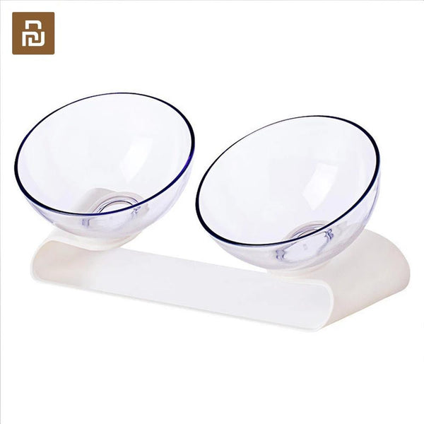Youpin Jordan&Judy Pet Double Bowls Cats Dogs Universal Slanting Double Bowls Small Pet Feeding Bowl - ourfurryfriendshub