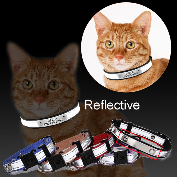 Leather Cat Collar Personalized Nameplate Free Engraving Adjustable - ourfurryfriendshub