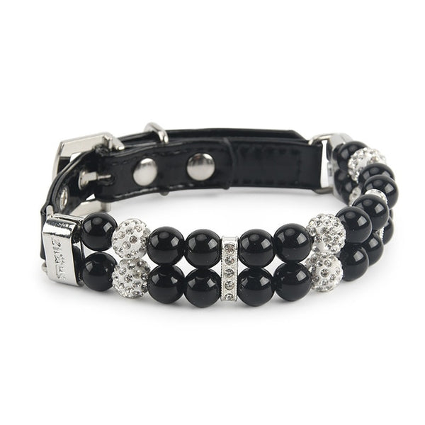 Artificial Pearls Rhinestones Leather Pet Collar - ourfurryfriendshub