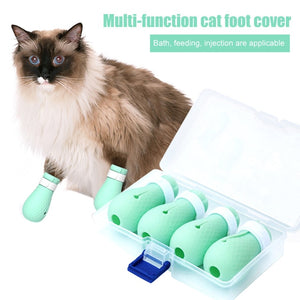 4pcs Adjustable Cat Shoes Anti-Scratch Bath Paw Cover - ourfurryfriendshub