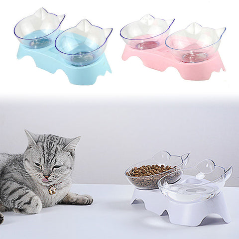 Non-slip Cat Bowls Double Bowls With Raised Stand Pet Food And Water Bowls For Cats Dogs Feeders Cat Bowl Pet Supplies - ourfurryfriendshub