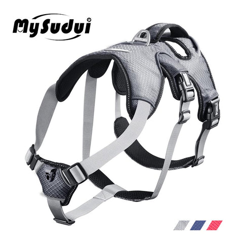 MySudui Medium Big Dog Harness For Dogs Collars And Harnesses Car Reflective Secure Multi-Use Pet Harness Dog Harness Large Vest - ourfurryfriendshub