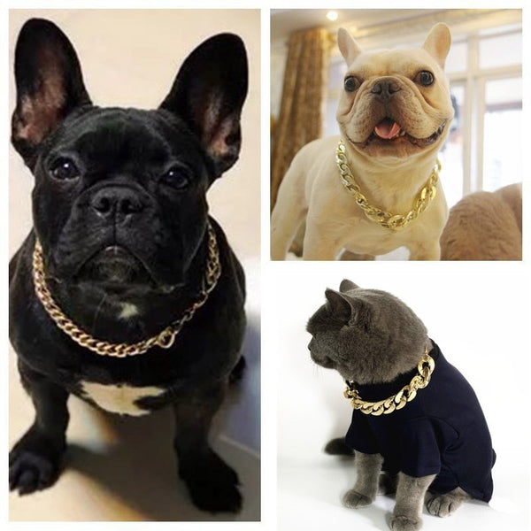 Pets Gold Plated Plastic Chain Necklace Collar - ourfurryfriendshub
