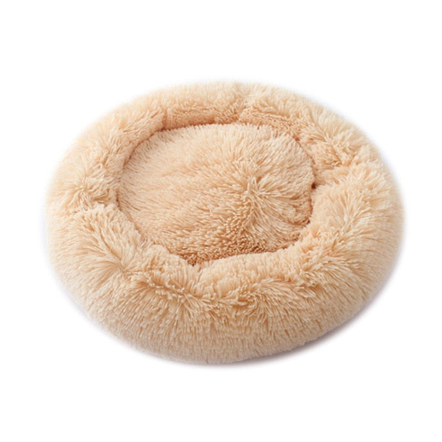 Soft Warm Round Pet Dog Bed Comfy Calming Pet Bed Dog Cushion Mat Dog Cat Washable Plush Kennel Donut Bed - ourfurryfriendshub