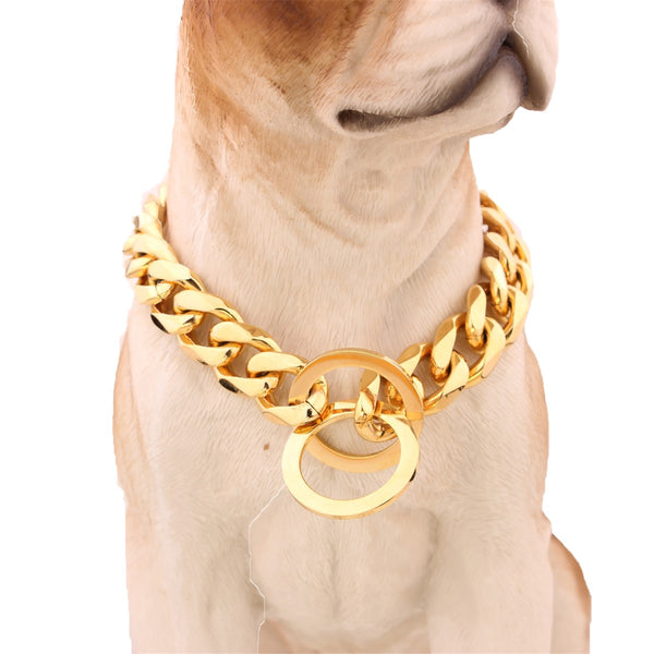 "14-26"" Dog Gold Chain Collar 13mm Wide Tone Double Curb Cuban Rombo Link 316L Stainless Steel Wholesale Pet Jewelry - ourfurryfriendshub"