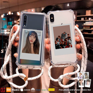 (FREE Photocard 4ea) Clear Crossbody Lanyard Photocard Phonecase for iPhone and Androids