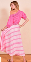 Load image into Gallery viewer, Cotton Calypso wrap skirt in pastel drip dye.