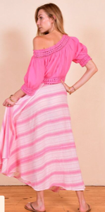 Cotton Calypso wrap skirt in pastel drip dye.
