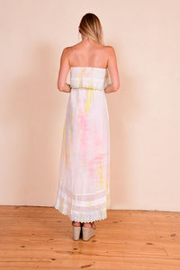 Cotton strapless fairy dress with lace a pastel tie-dye