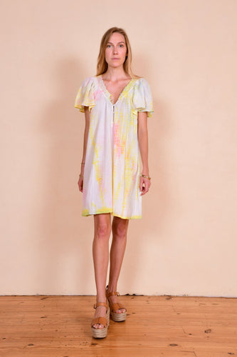 Cotton and lace tie dyed Laguna dress in pastel drip dye