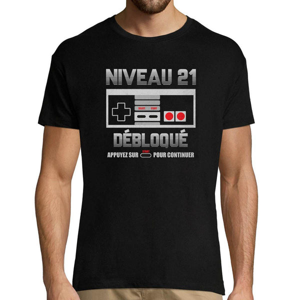T-shirt Homme Anniversaire 21 ans Gamer - Planetee