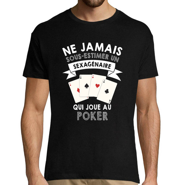 T-shirt homme Poker Sexagénaire - Planetee
