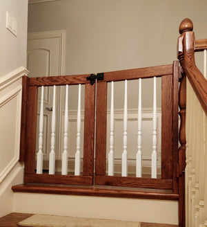 Double Door Painted Wooden Baluster Gate - Oak Grove Woodworks