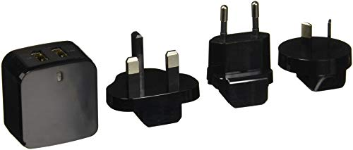 StarTech.com Travel USB Wall Charger - 2 Port - Black - Universal Travel Adapter - International Power Adapter - USB Cha