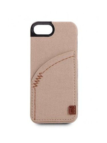 The Joy Factory Denim Premium Denim Hardshell Case with Pocket for iPhone5/5S, CSD112 (Khaki)