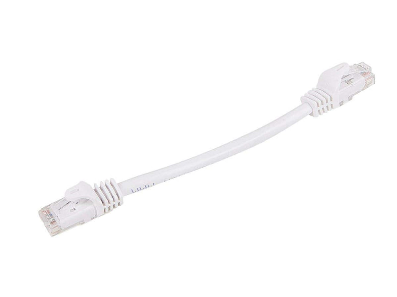 Monoprice Flexboot Cat5e Ethernet Patch Cable - Network Internet Cord - RJ45, Stranded, 350Mhz, UTP, Pure Bare Copper Wire, 24AWG, 0.5ft, White