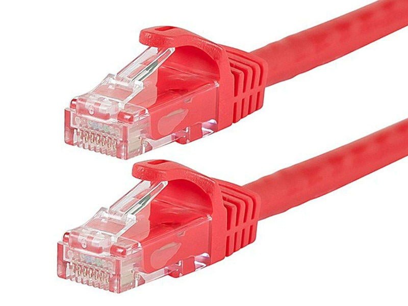 Monoprice Flexboot Cat6 Ethernet Patch Cable - Network Internet Cord - RJ45, Stranded, 550Mhz, UTP, Pure Bare Copper Wire, 24AWG, 0.5ft, Red