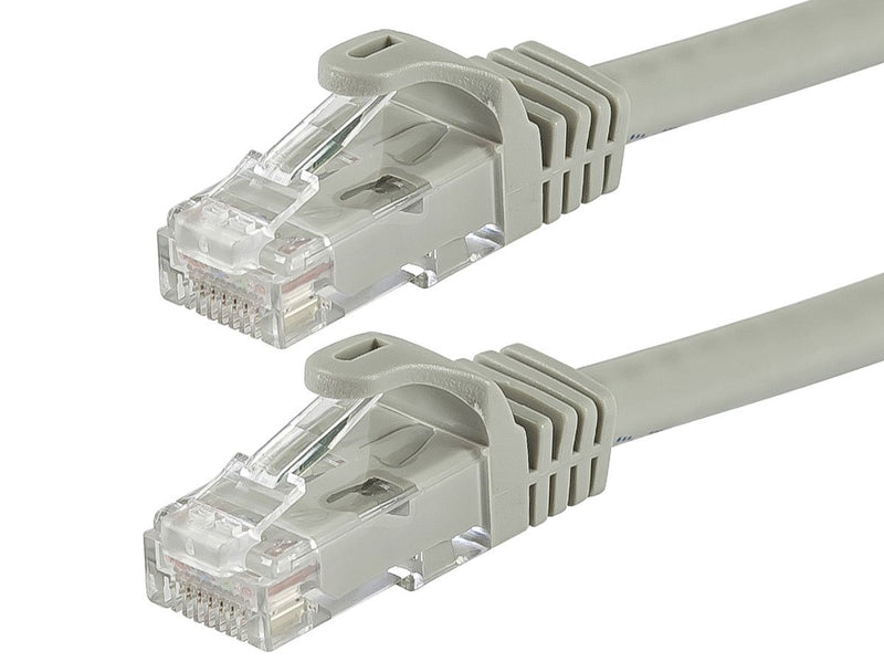 Monoprice Flexboot Cat5e Ethernet Patch Cable - Network Internet Cord - RJ45, Stranded, 350Mhz, UTP, Pure Bare Copper Wire, 24AWG, 2ft, Gray
