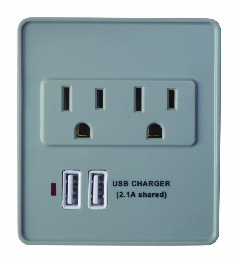 Woods 410517821 2 Outlet 2 USB Wall Tap Surge Protector