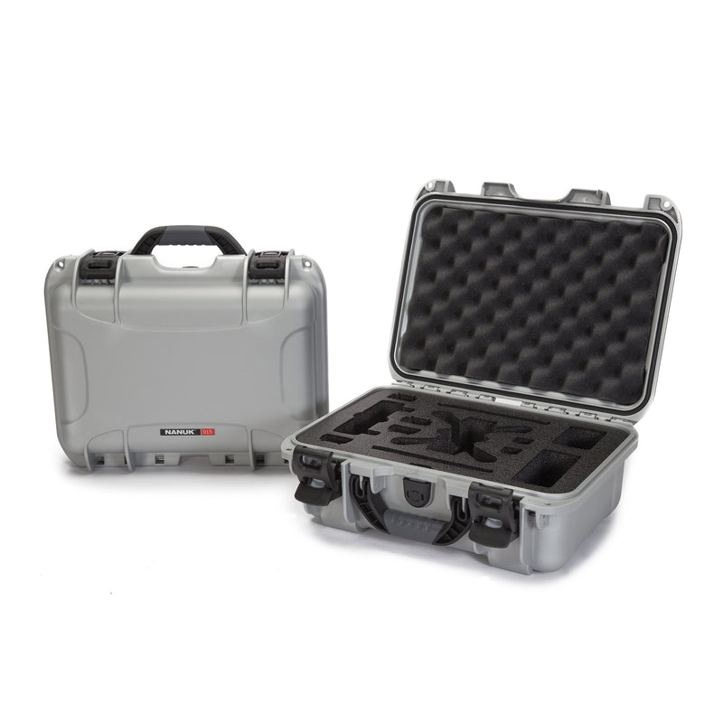 Nanuk 915 Waterproof Hard Drone Case with Custom Foam Insert for DJI Spark Flymore - Silver