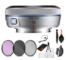 Samsung 20mm f/2.8 Pancake Lens for NX10 / NX100 (Silver) with Essential Bundle Kit :3pc Filter Kit +More