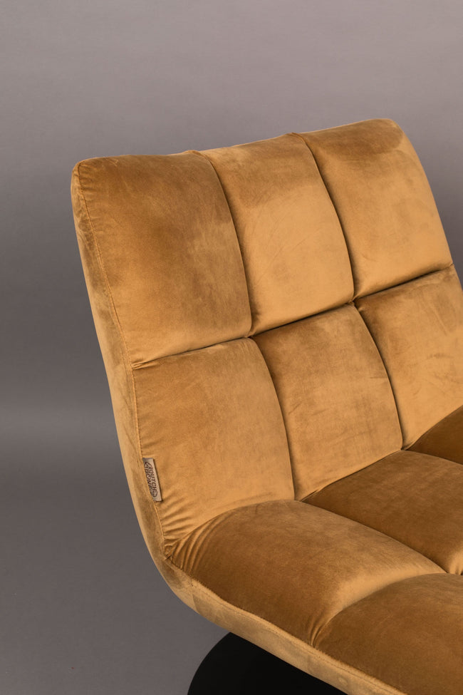 Dutchbone Bar loungestoel velvet goldbrown - Dutchbone Bar loungestoel velvet goldbrown