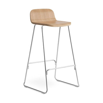 Normann Copenhagen Just barkruk met rugleuning H75 cm oak/chrome