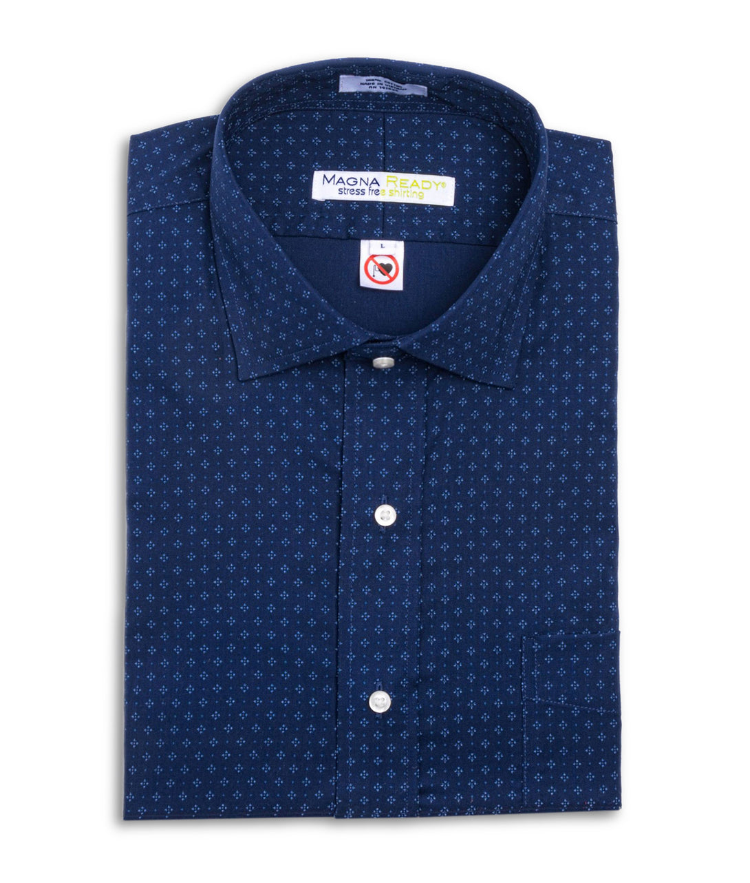 Navy and White Diamond Print Long Sleeve Dress Shirt with Magnetic Closures | JUNIPERunltd