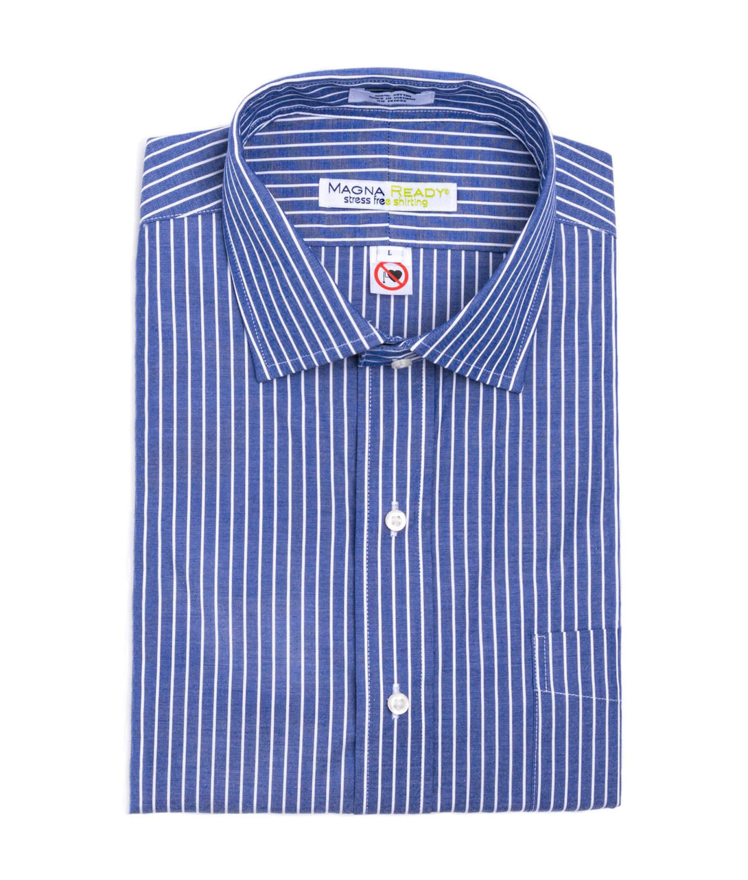 Navy and White Pinstripe Long Sleeve Shirt with Magnetic Closures | JUNIPERunltd