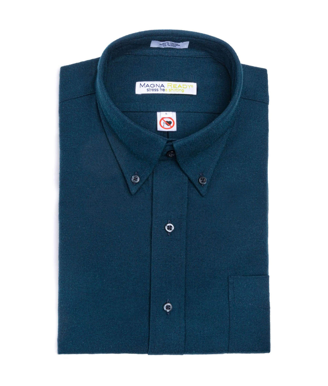 Dark Teal Flannel Long Sleeve Shirt with Magnetic Closures | JUNIPERunltd
