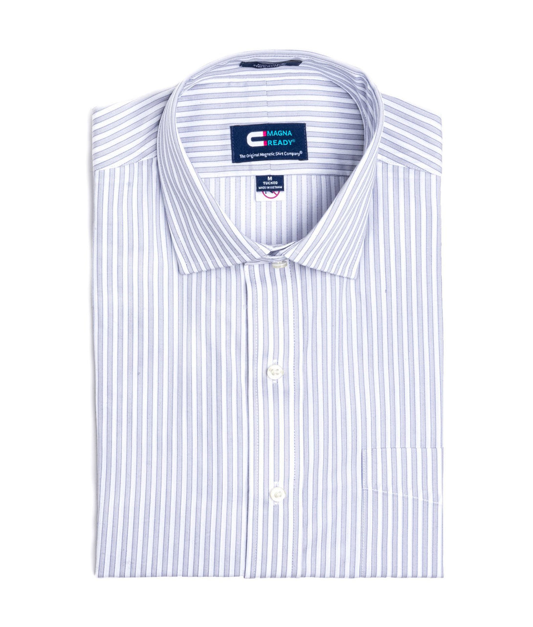 Blue and Grey Bengal Stripe Long Sleeve Dress Shirt with Magnetic Closures | JUNIPERunltd