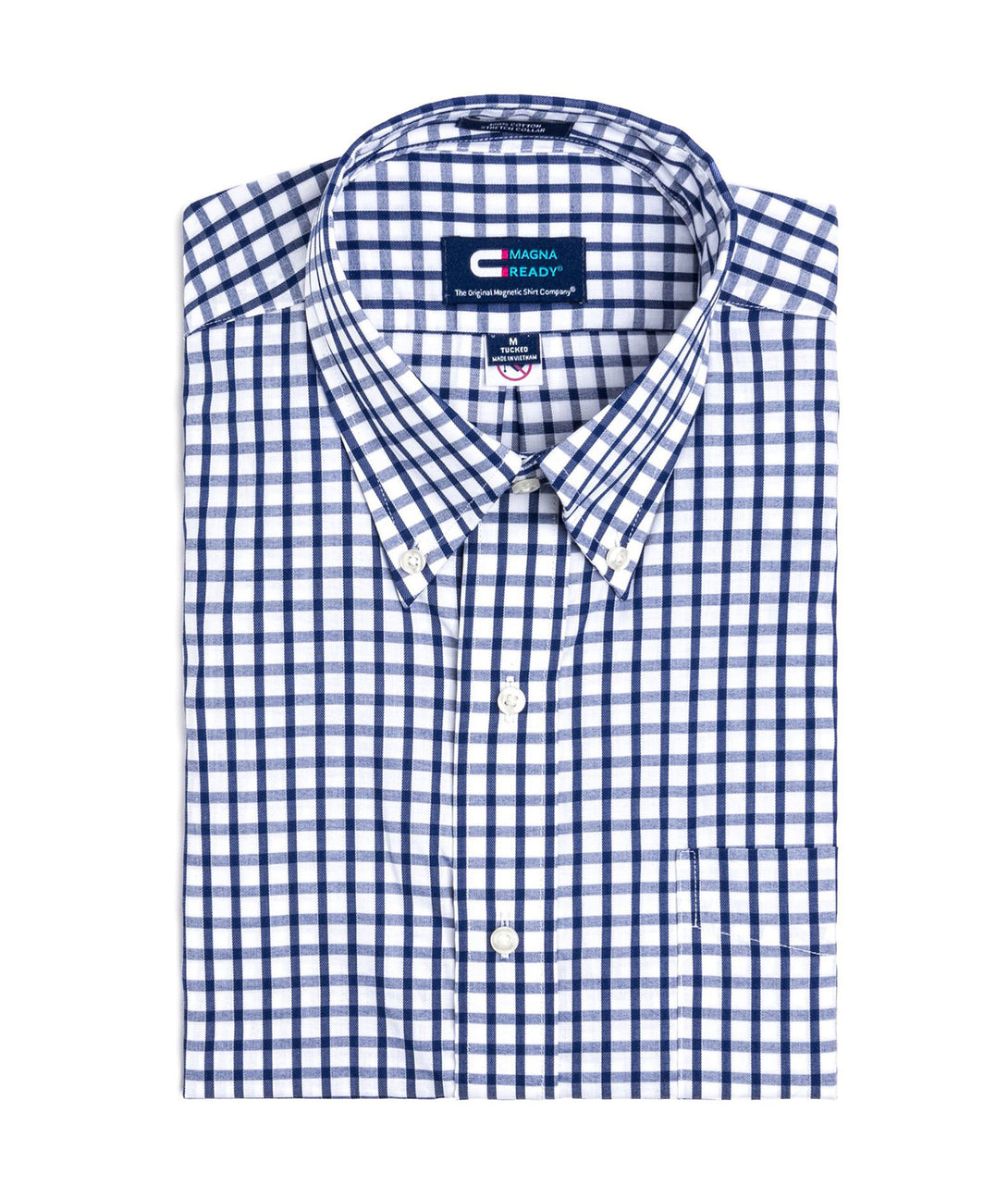 Navy and White Grid Check Long Sleeve Dress Shirt with Magnetic Closures | JUNIPERunltd