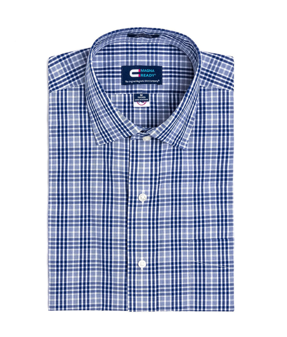 Navy and White Plaid Short Sleeve Shirt with Magnetic Closures | JUNIPERunltd