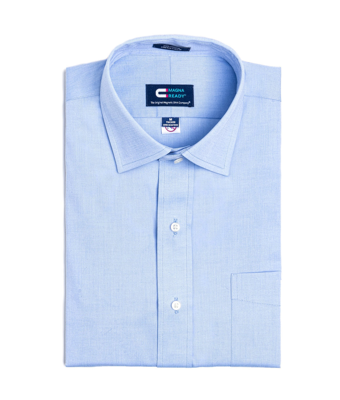 Blue Pinpoint Long Sleeve Dress Shirt with Magnetic Closures | JUNIPERunltd