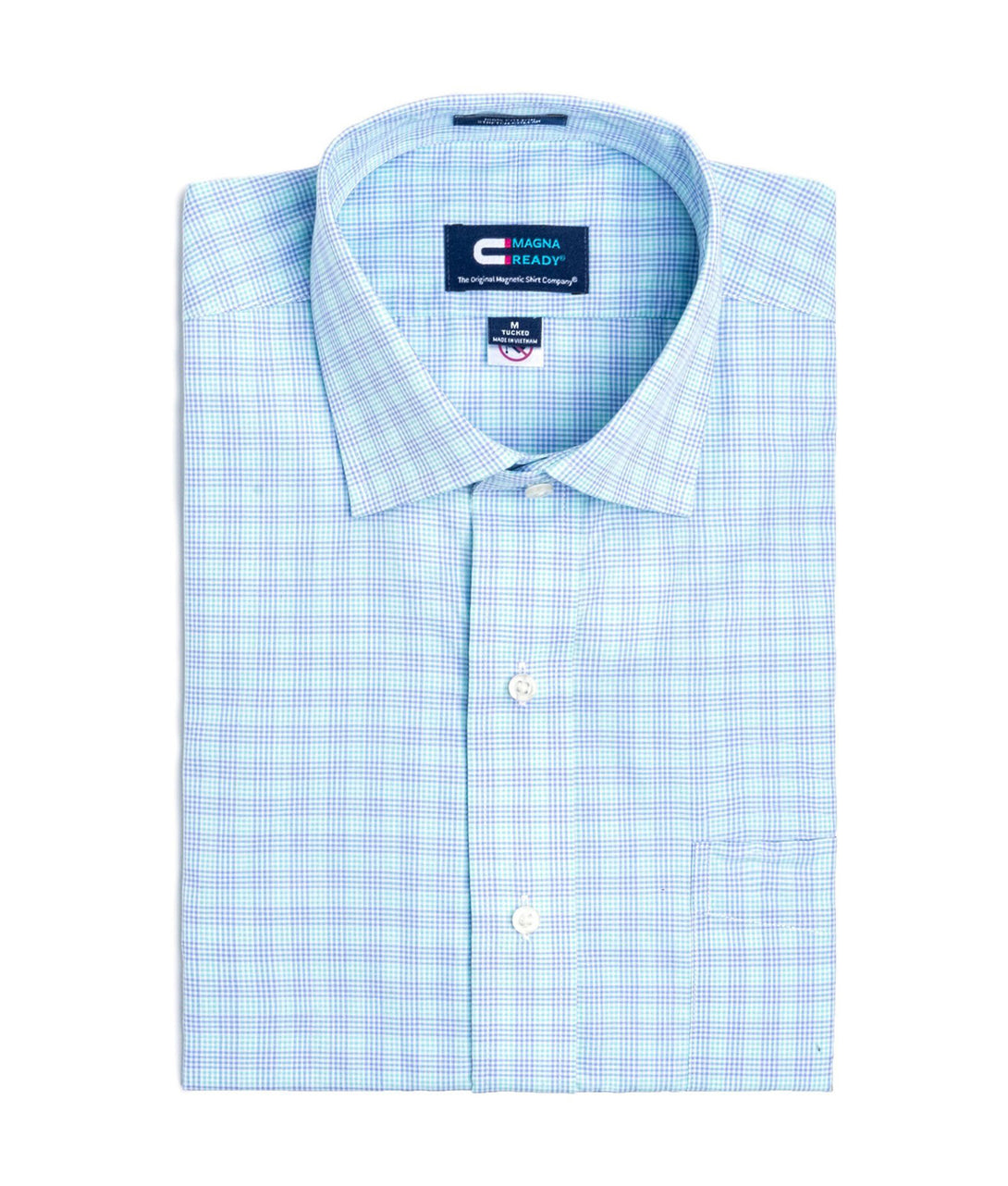 Blue and Teal Check Short Sleeve Shirt with Magnetic Closures | JUNIPERunltd