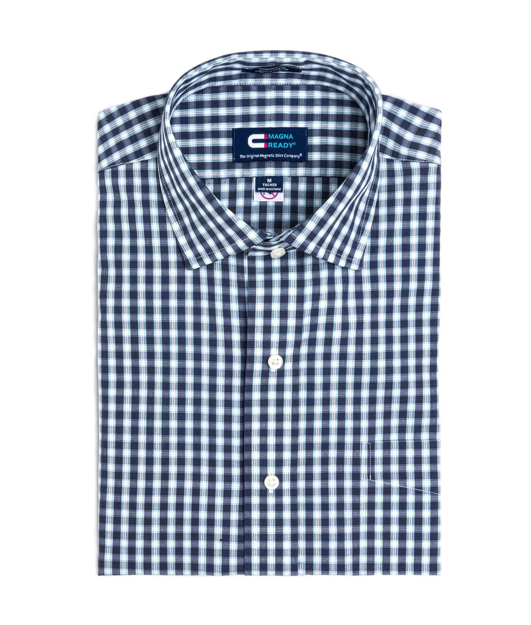 Navy, White and Teal Check Long Sleeve Shirt with Magnetic Closures | JUNIPERunltd