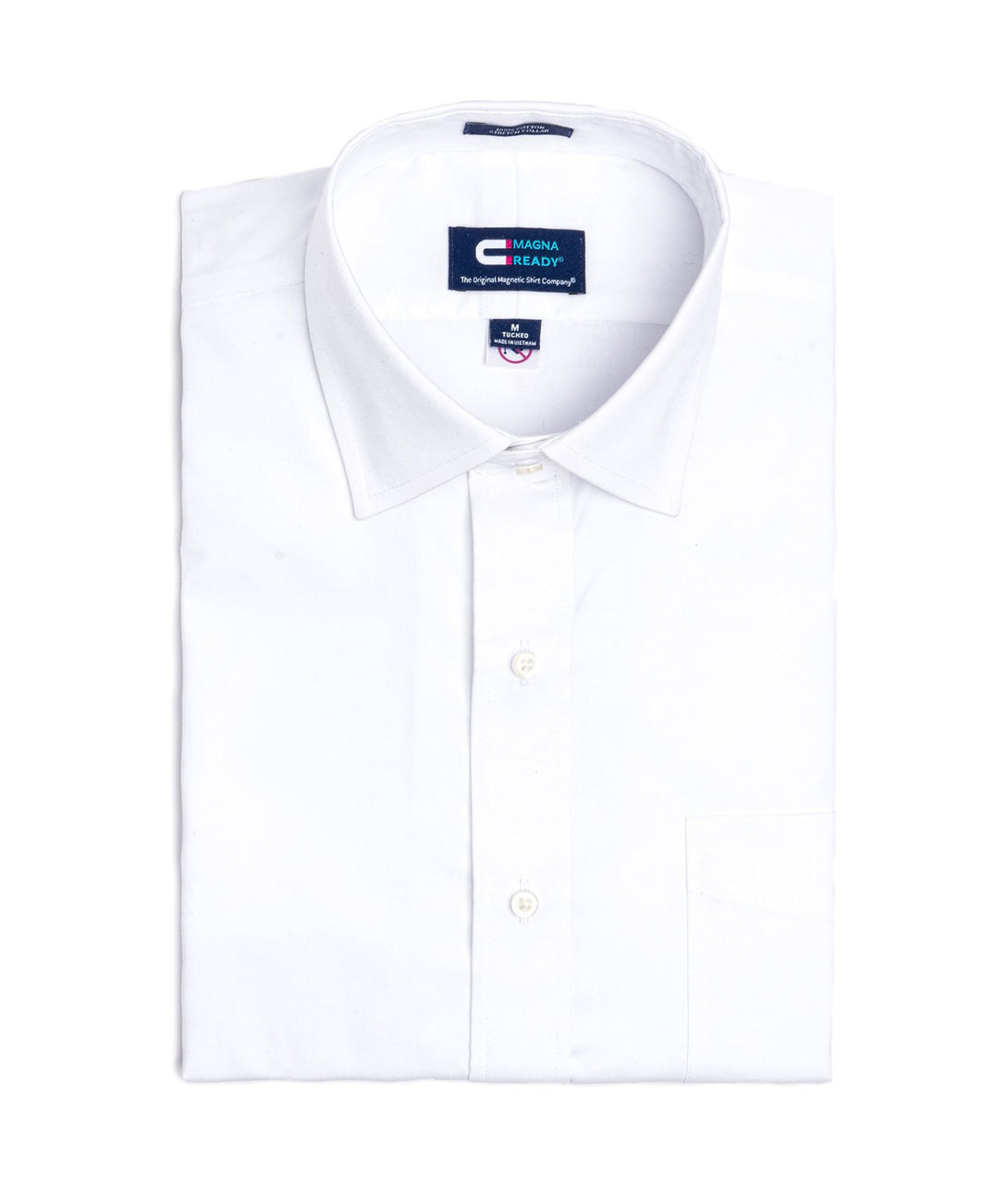 White Pinpoint Long Sleeve Dress Shirt with Magnetic Closures | JUNIPERunltd
