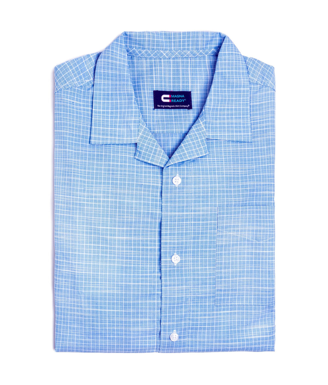 Untucked Light Blue Cotton Casual Mini Grid Camp Shirt With Magnetic Closures | JUNIPERunltd