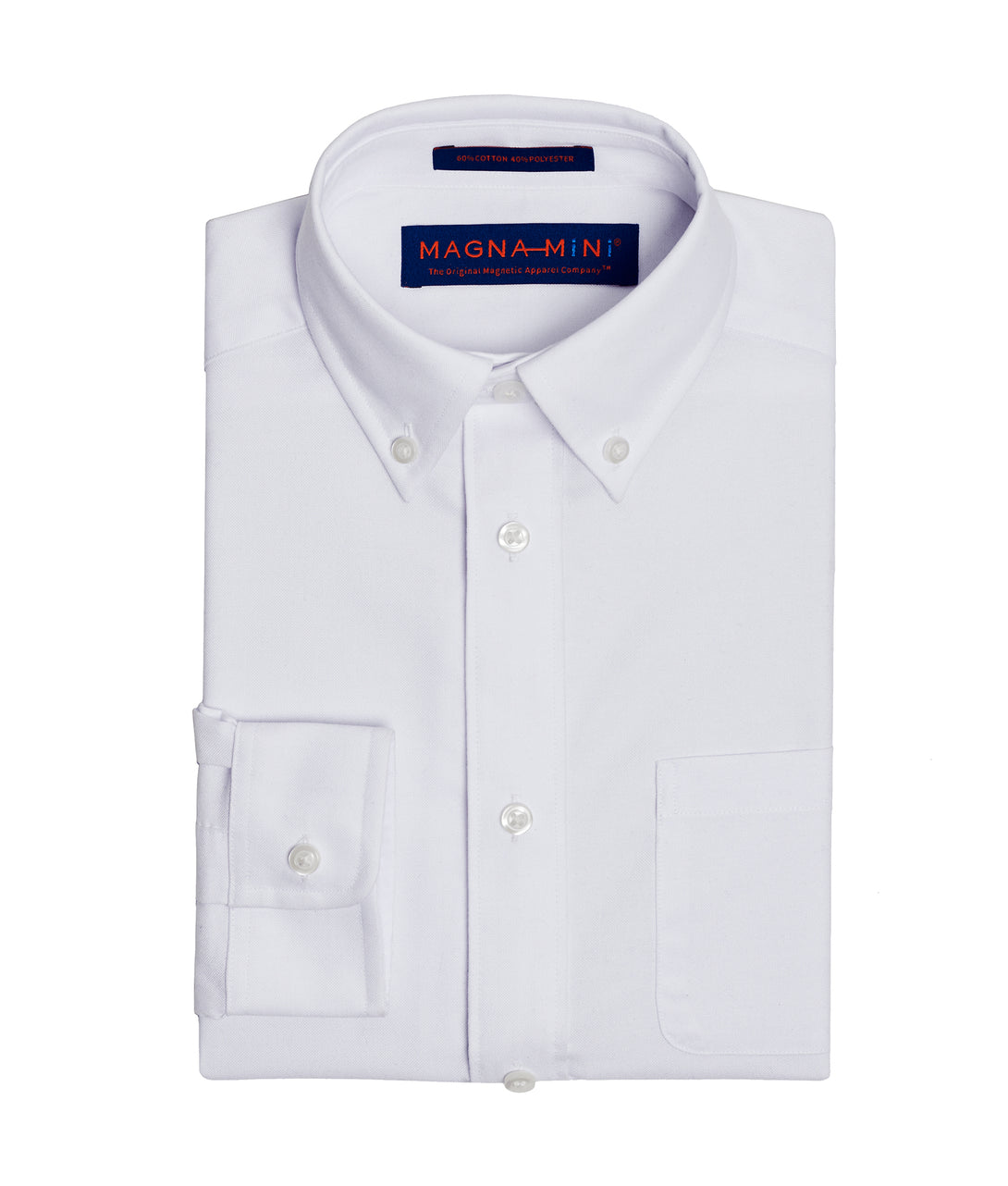 Boys White Oxford Long Sleeve Shirt with Magnetic Closures | JUNIPERunltd
