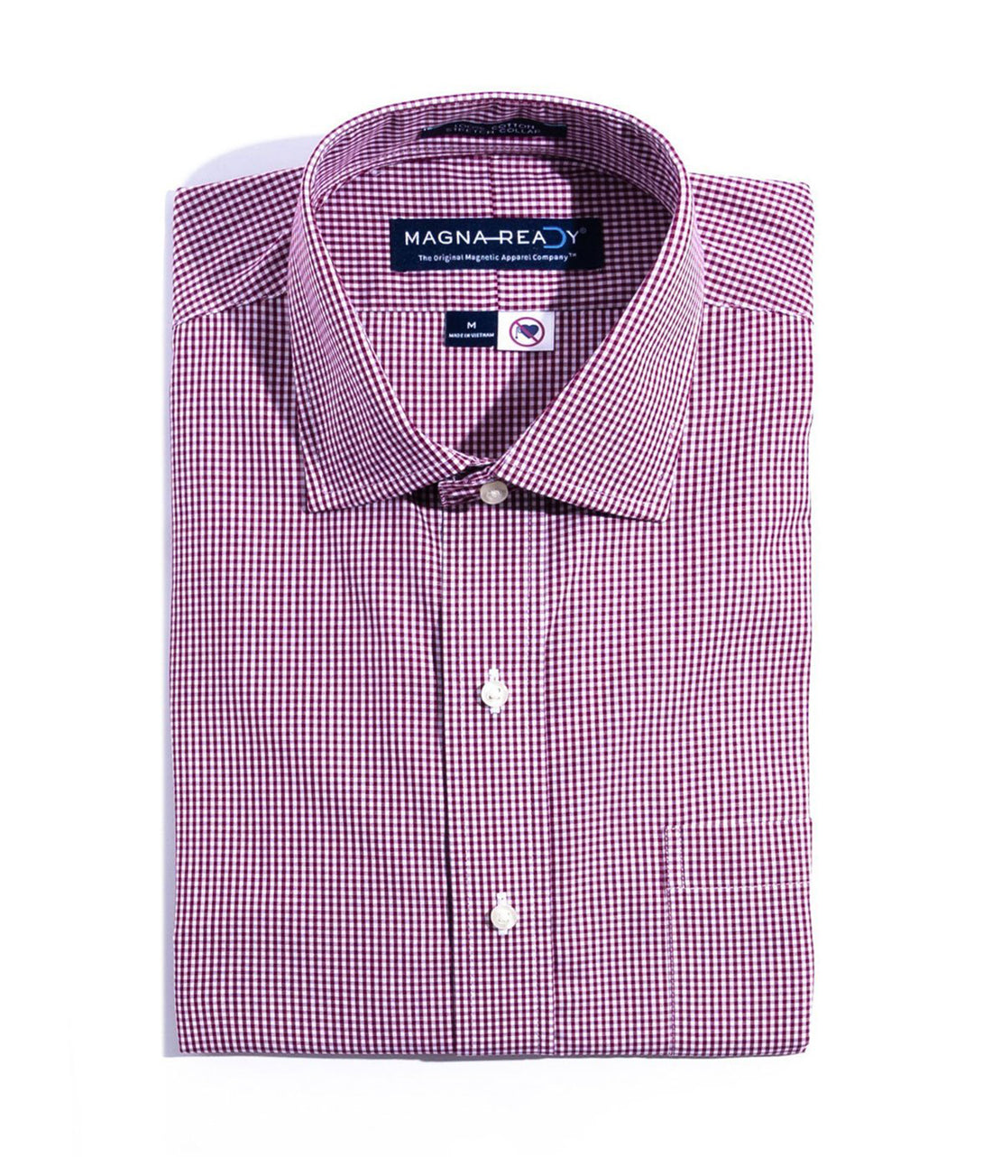 Burgundy And White Gingham Check Poplin Weave Long Sleeve Shirt With Magnetic Closures | JUNIPERunltd