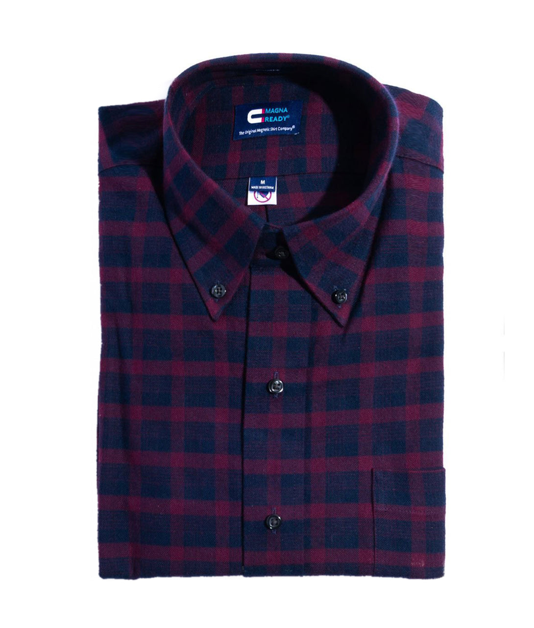 Burgundy Plaid Flannel Long Sleeve Shirt with Magnetic Closures | JUNIPERunltd