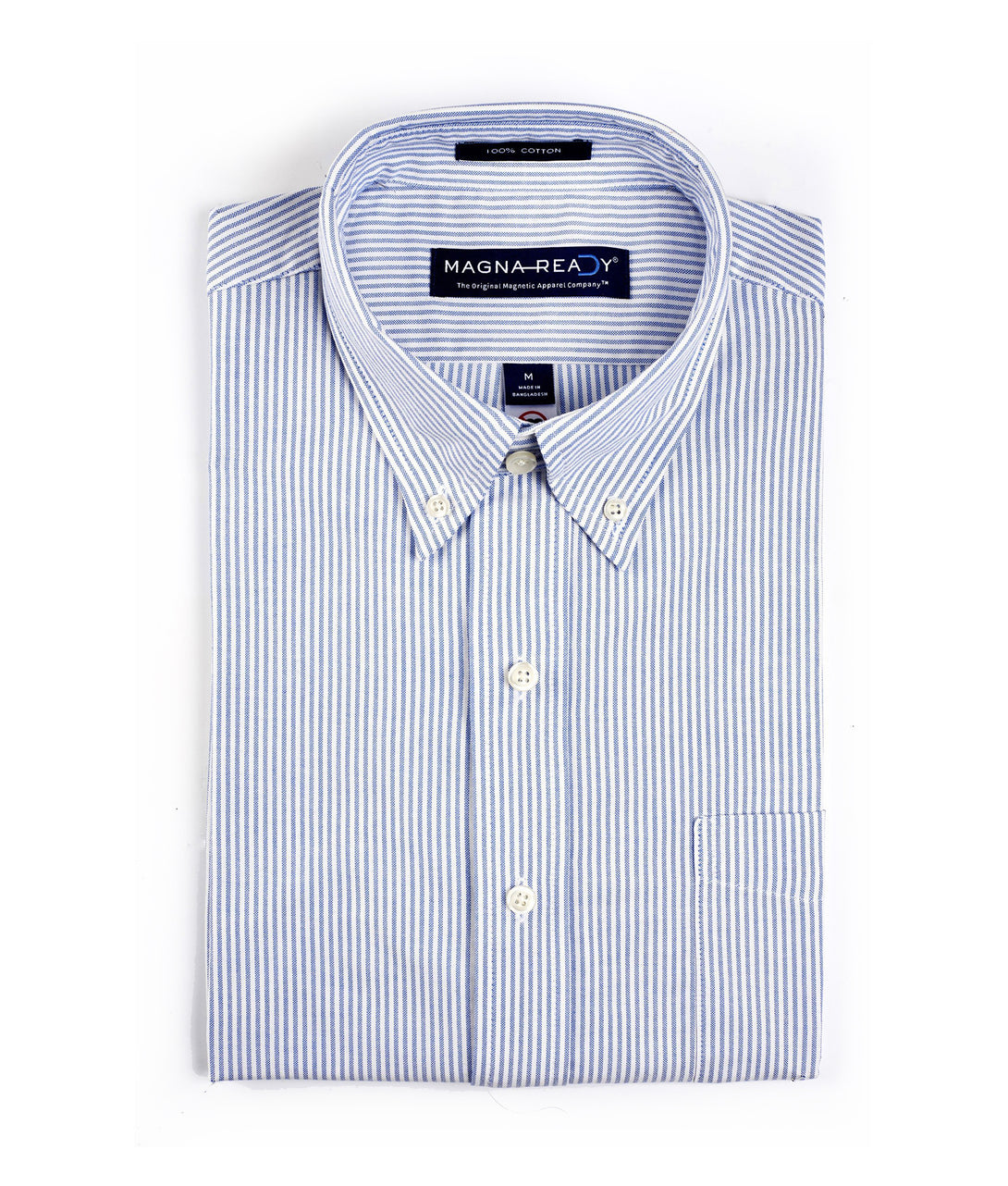University Oxford Stripe Short Sleeve Shirt with Magnetic Closures | JUNIPERunltd