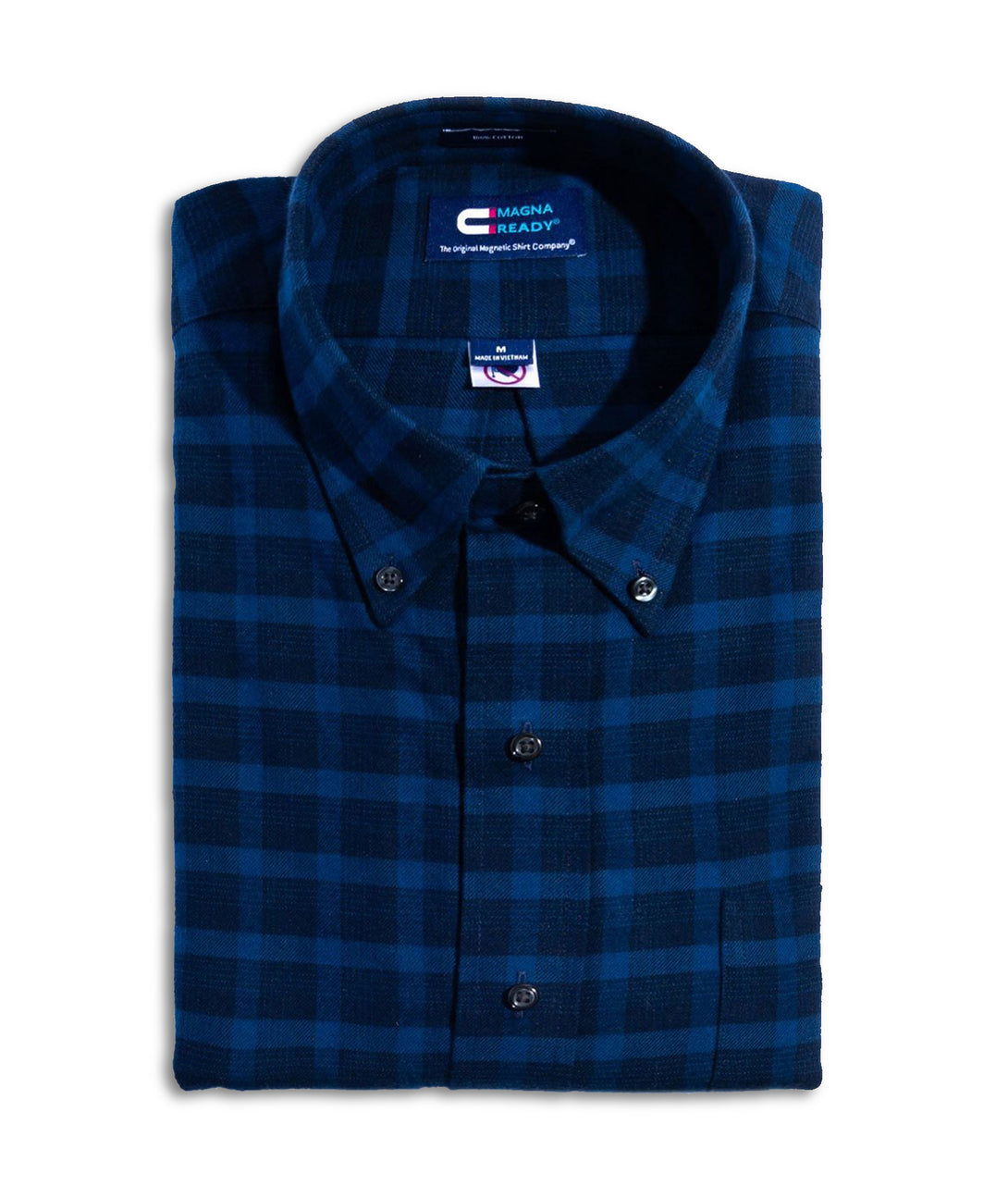 Navy Plaid Flannel Long Sleeve Shirt with Magnetic Closures | JUNIPERunltd
