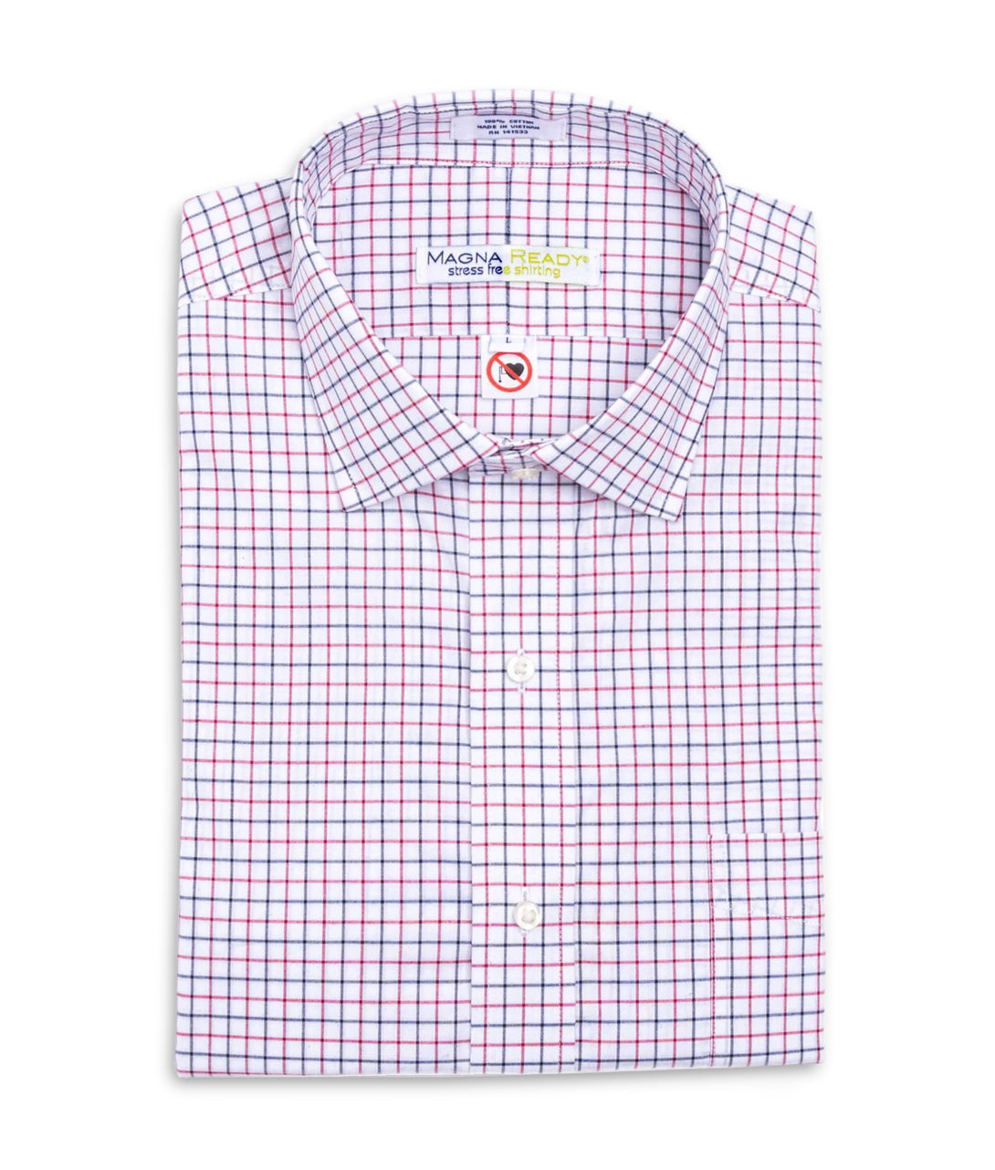 Red, Navy and White Grid Check Long Sleeve Shirt with Magnetic Closures | JUNIPERunltd