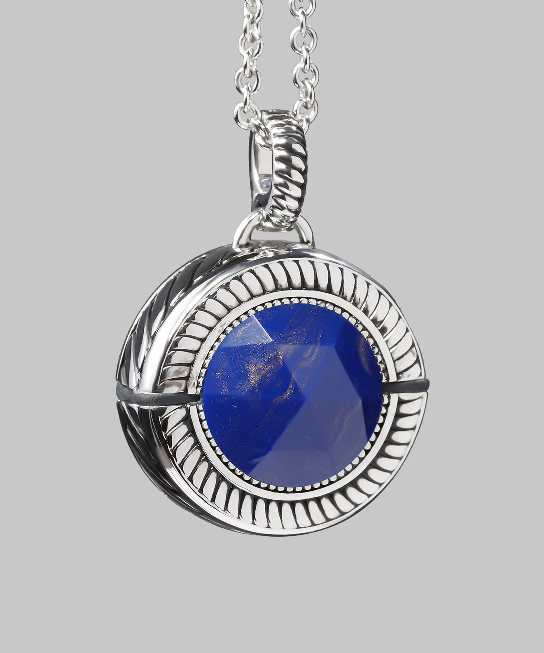 Bella Emergency Bluetooth Lapis Blue And Rhodium Necklace And Removable Pendant (front)