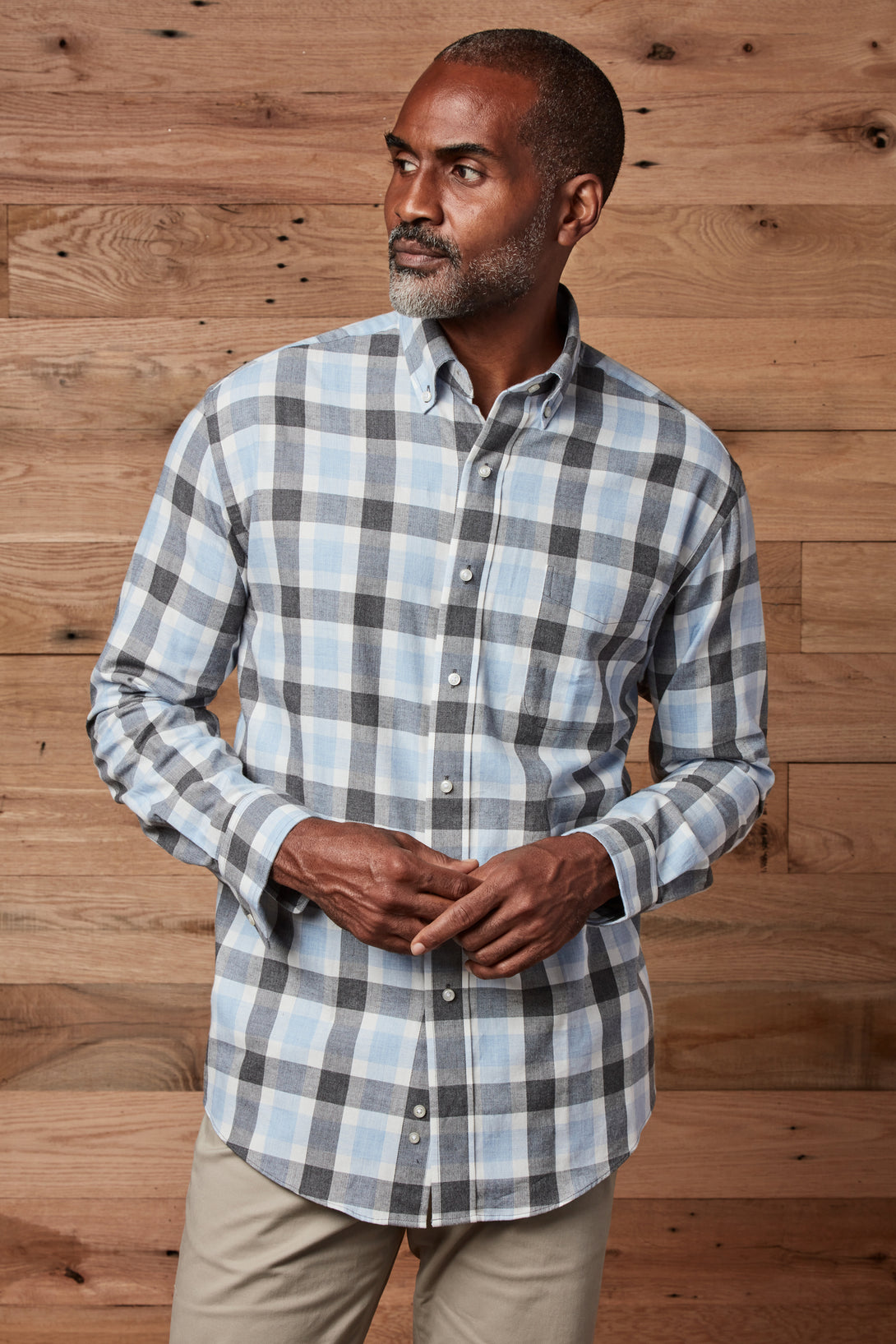 Grey Blue Softly Brushed Flannel Long Sleeve 'Heights' Shirt with Magnetic Closures in Grey Blue