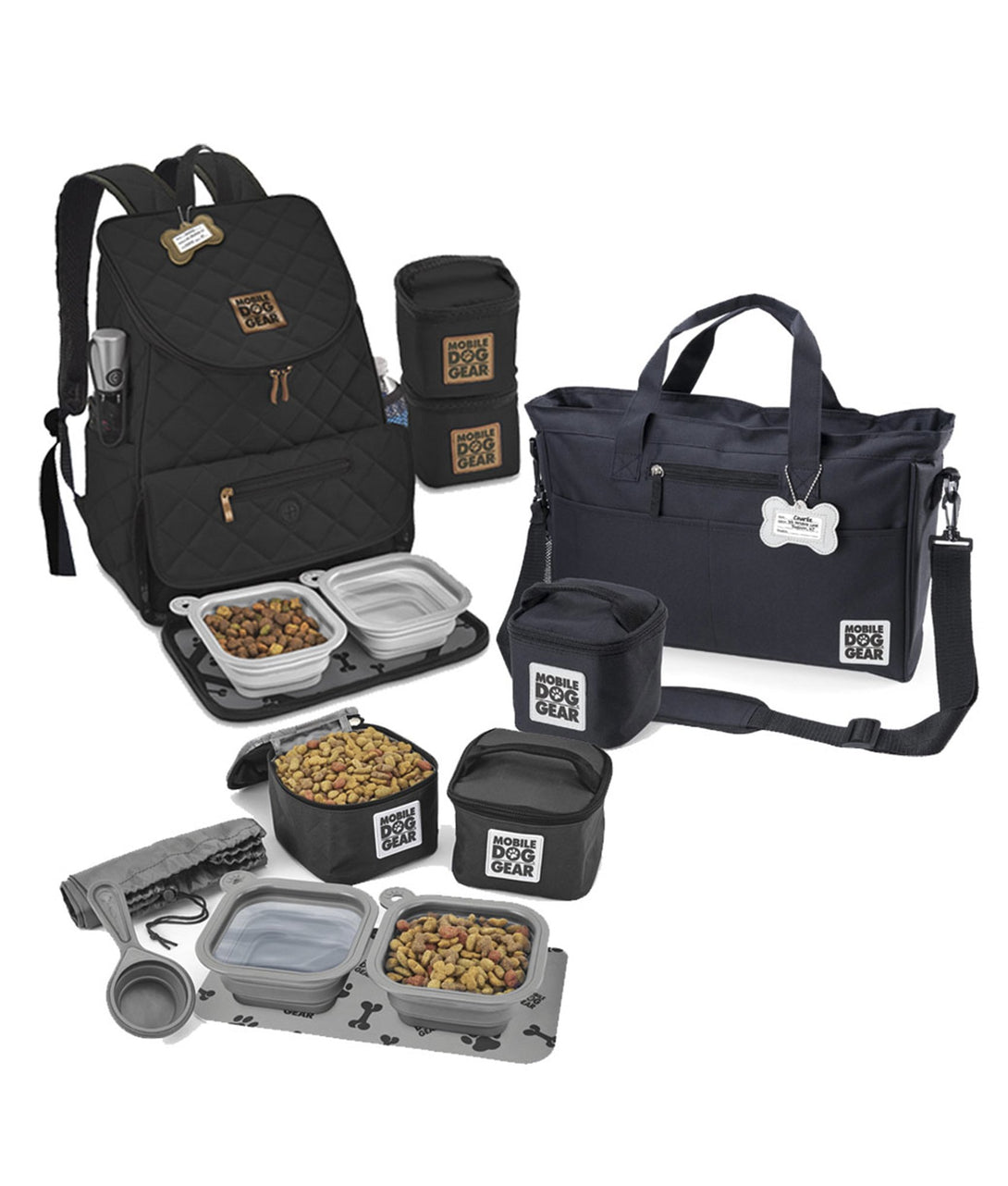 Mobile Dog Gear Bundle: Day Away® Tote Bag, Dine Away® Set for Small Dogs, Weekender Backpack